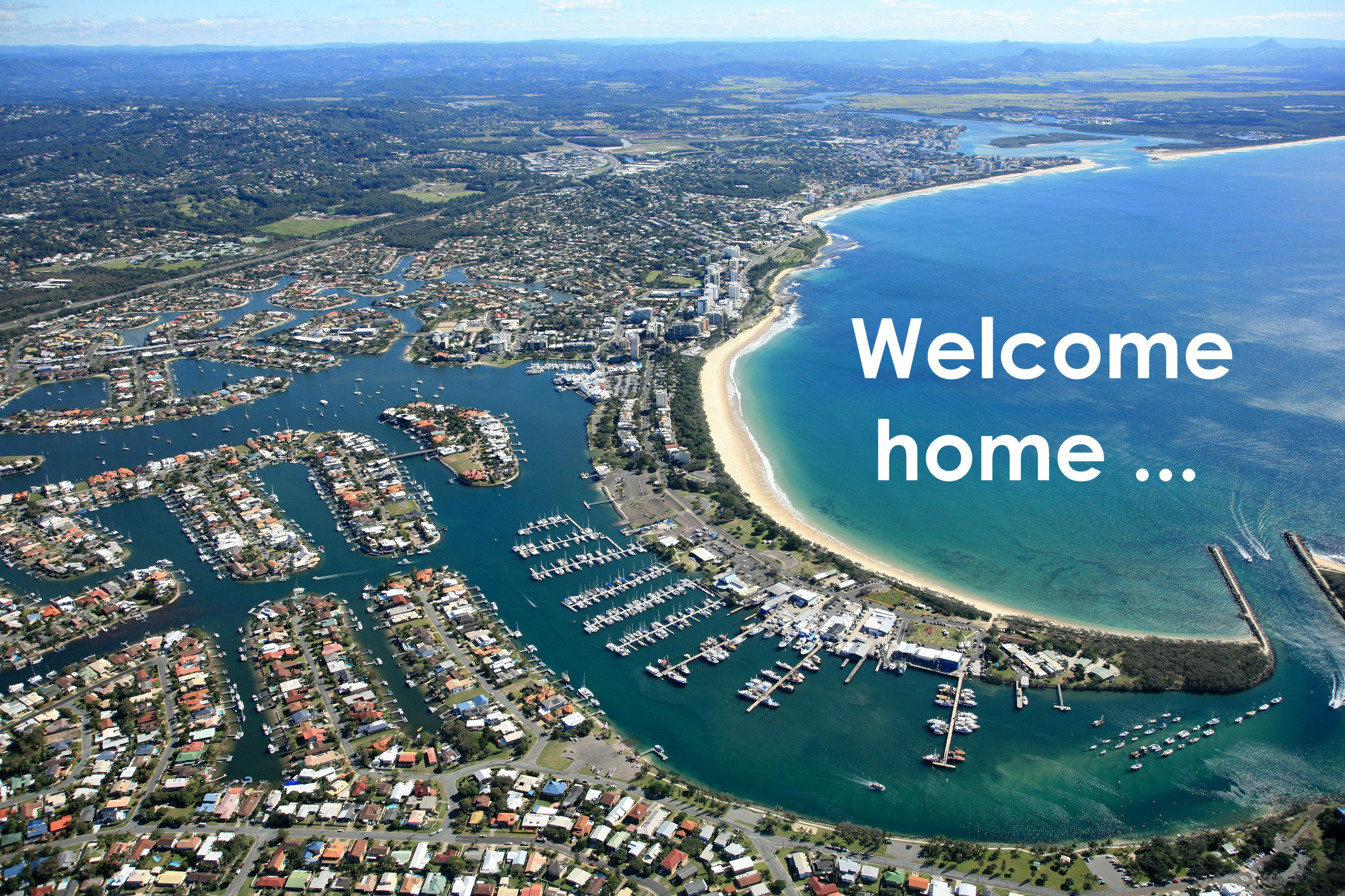 Welcome home, aerial view of Sunshine Coast